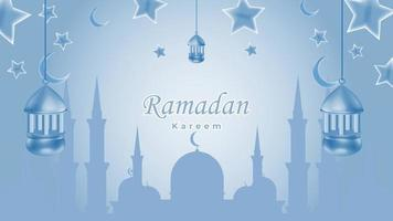 Ramadan kareem background with mosque star and lantern in blue color vector