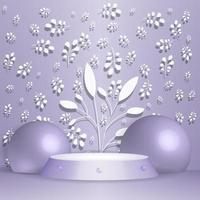 Background vector 3d blue rendering with podium and paper leaves