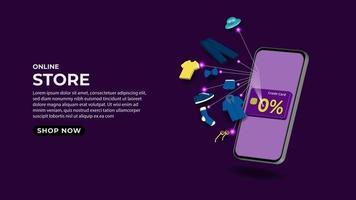 Shopping online on mobile phone application concept illustration vector