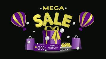 Abstract background design with 3d golden mega sale vector