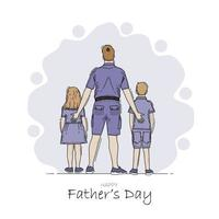 Hand drawn happy father day vector