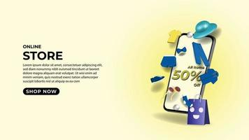 Online Store on mobile phone application concept illustration vector