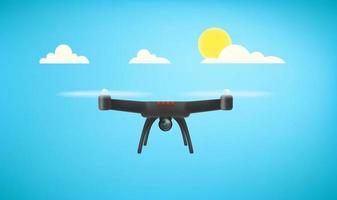 Flying black drone with digital camera in a sky vector