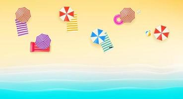 Bright sunny beach with color umbrellas and towels vector