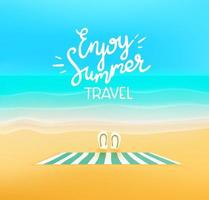 Beautiful landscape with empty beach and logo vector