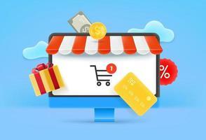 Online shop via internet vector