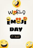World emoji day greeting card vector