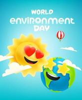 World environment day vector banner with comic sun and Earth