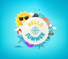 Hello summer vector banner with frame