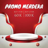 social media post banner with podium display 3d for Indonesia independence day 17th August vector