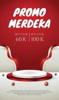 social media story banner with podium display 3d for Indonesia independence day 17th August vector