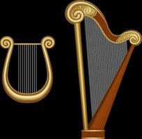 isolated harp and lyre illustration vector