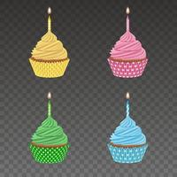 set of isolated birthday cupcakes vector