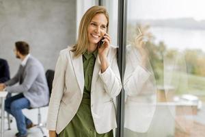 Businesswoman talking on phone photo