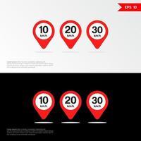 Maximum Speed limit sign set icon app mobile vector