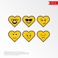 Set of love emoji concept icons with different emotions Vector illustration 2