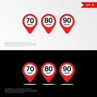 Maximum Speed limit sign set icon app mobile 3 vector