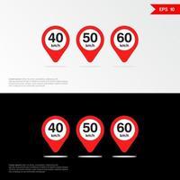 Maximum Speed limit sign set icon app mobile 2 vector