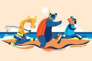 Summer Animal Giraffe Bear and Koala go to the Beach for Fishing Snorkeling and Selfie vector