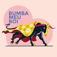 Vector illustration of Traditional Brazilian Celebration Bumba Meu Boiy is translated as Hit My Bull