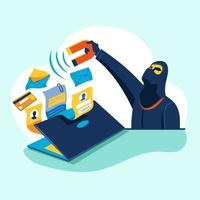 Hacker Phishing Scam Attack Web Security Vector Concept of Phishing and Fraud