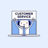Businessman with headset in a computer customer service and technical support concept Cartoon character thin line style vector