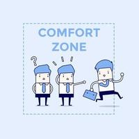 Businessman exit from comfort zone Cartoon character thin line style vector