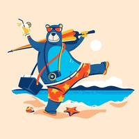 Bear with Umbrella and Ice Box Goes Sunbathing on the Beach, Concept of Summer Time vector
