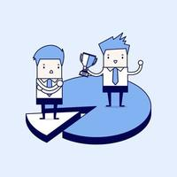 Businessmen on difference pieces of pie chart market share concept Cartoon character thin line style vector
