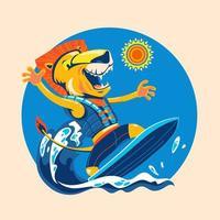 León surfeando en la playa para disfrutar del horario de verano. vector