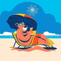 Bear on Staycation at the Beach to Enjoy the Summer Time vector