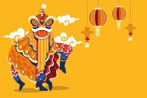 Chinese New Year Lion Dance vector