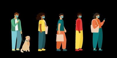 Full length of cartoon sick people in medical masks standing in line flat vector illustration side view