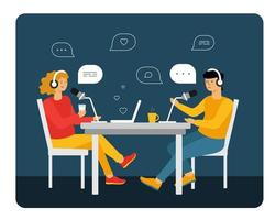 people recording audio podcast or online show vector flat illustration