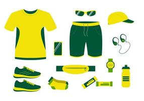 Summer running clothes Tshirt shorts and sneakers vector