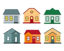 Set of houses front view Collection icons of urban and suburban house flat vector illustration