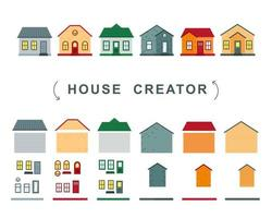 House creator vector collection of elements roof windows and walls