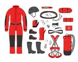 Equipo de espeleología kit ropa accesorio espeleológico ilustración vectorial vector