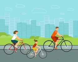 La gente anda en bicicleta por la ciudad, mujer y hombre en bicicletas, personajes familiares caucásicos con antecedentes urbanos vector