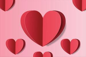 Love background with red heart paper style vector