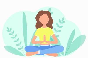 The girl in nature sits in the lotus position Vector