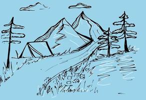 Vector mountains Mountain sketch with pine trees and a tent