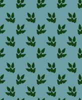 Seamless background with bright green leaves on a blue background vector