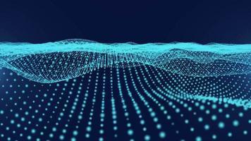 sömlös slinga blå våg partikel teknik bakgrund video