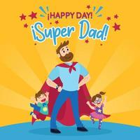 Super dad with son and daughter ffor Father's day vector