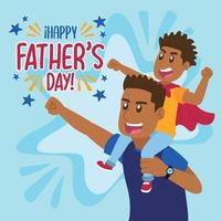Happy dad playing with his son for Father's day vector