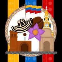Iglesia con sombrero y grano de café sobre una bandera de Colombia vector