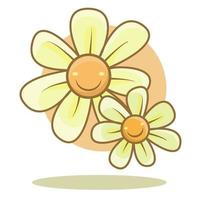 a pair of pastel colored flowers smiling illustration vector