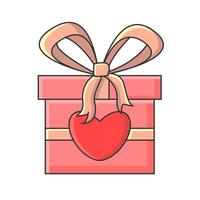 Pink gift box featuring ribbon and illustrated hearts vector