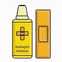 botiquín de primeros auxilios medicinal rojo e ilustración de vendaje de heridas vector